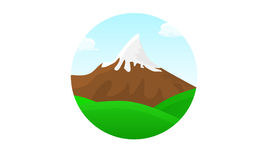 Mountains landscape circle beautiful banner wallpaper design ill. Ustration Stock Image