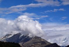 Mountains landscape in cloudy day. Cloudy weather in the mountains stock photo