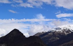 Mountains landscape in cloudy day. Cloudy weather in the mountains stock photos