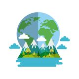 Mountains landscape design. Mountains landscape and earth planet icon over white background. colorful design.  illustraiton Royalty Free Stock Image