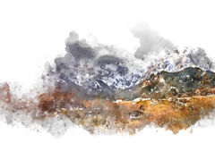 Mountains landscape. Digital watercolor painting stock photo
