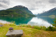 Mountains landscape, fjord and rest place, Norway Stock Photography