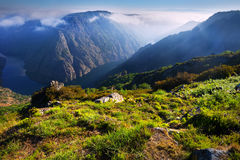 Mountains landscape with  fog over river  in sunny day Royalty Free Stock Photos