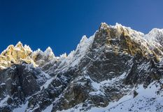 Mountains panorama in french Chamonix Mont Blanc during winter. Amazing view of the summits covered with snow. stock images
