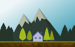 Mountains landscape with the house Royalty Free Stock Photo