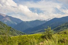 Mountains landscape of the Kaskelen gorge in the Tien-Shan Mount Stock Photos