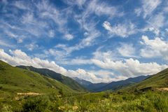 Mountains landscape of the Kaskelen gorge in the Tien-Shan Mount Royalty Free Stock Image