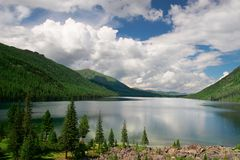 Mountains landscape and lake. Altay. Russia Royalty Free Stock Photos