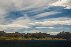 Mountains landscape with lake in front on blue clo. Udy sky. New Zealand landscape Royalty Free Stock Photo