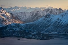 Mountains landscape of Lofoten archipelago in Norway, Scandinavia. Europe stock photo