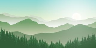 Mountains landscape with pines forest and sunrise. Illustration of mountains landscape with beautiful sunrise on the horizon. Foggy morning in pines forest with royalty free illustration