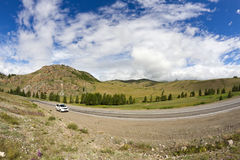 Mountains landscape road car Royalty Free Stock Images