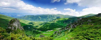Mountains landscape with rock Royalty Free Stock Photos