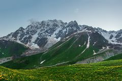 Mountains landscape. Rocky mountain range in Svaneti region of Georgia. Caucasus mountains royalty free stock images
