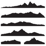 Mountains landscape silhouette set. High peak mountain border Stock Photos