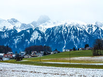 Mountains landscape and small Swiss town Royalty Free Stock Photo