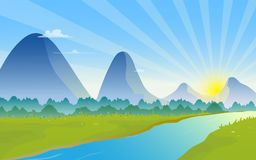 Mountains landscape with sunrise on the horizon. Natural landscape with row of mountains, river and sunrise on the horizon. Valley scenery illustration vector illustration
