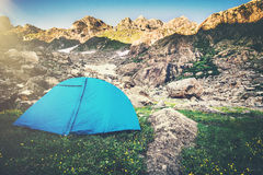 Mountains Landscape and tent camping Travel Lifestyle Stock Images