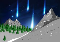 Mountains landscape, travel and adventure unbelievable, meteor f vector illustration
