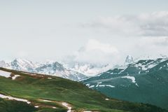Mountains Landscape Travel serene summer scenery. Aerial view Royalty Free Stock Photography