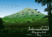 Mountains landscape of tropical background with flying birds for Birds migratory day Stock Photos