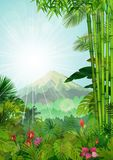 Mountains landscape of tropical background with sunrays Royalty Free Stock Images