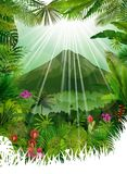 Mountains landscape of tropical background with sunrays Stock Photo