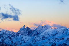 Mountains Landscape Ushba Caucasus In Russia Stock Photo