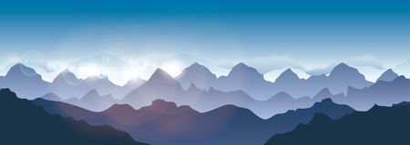 Mountains landscape - Vector illustration. Himalaya mountains Stock Photo