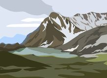Mountains landscape. Vector landscape, snow-capped mountains and lake Stock Image