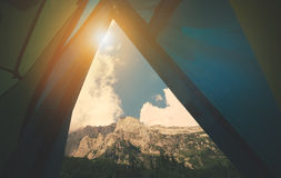 Mountains Landscape view from tent camping entrance Royalty Free Stock Photo