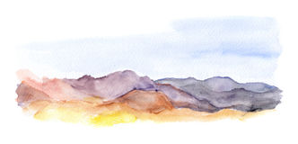 Mountains landscape view. Watercolour picture Royalty Free Stock Image