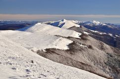 Mountains landscape. White snowy summits in polish mountains royalty free stock image