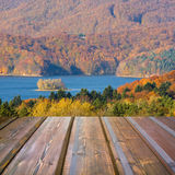 Mountains landscape with wooden planks Royalty Free Stock Photo