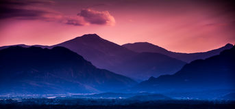 Mountains. Landscapes evening sky sun mountains Royalty Free Stock Photos