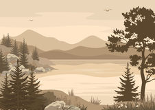 Mountains Landscapes, Lake, Trees and Birds Stock Image