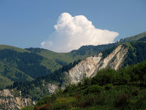 Mountains with landslide royalty free stock photography