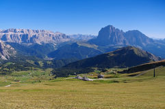 Mountains Langkofel and Plattkofel in Dolomites Royalty Free Stock Photos