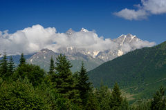 Mountains lanscape with Ushba peak Royalty Free Stock Images
