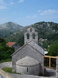 The mountains of lastovo with a church Stock Image