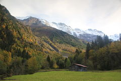 Mountains Lauterbrunnen valley in autumn near Stec Stock Photography
