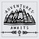 Mountains and Lets Go on an Adventures inspirational lettering royalty free stock images