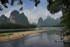 The mountains and  the Lijiang River Royalty Free Stock Photography
