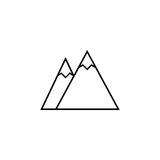 Mountains line icon, travel tourism. Snow, a linear pattern on a white background, eps 10 Stock Photo