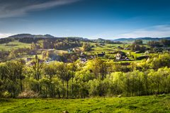 Mountains lit by the spring sun. Beskid Wyspowy - part of the Western Beskids situated between the Raba valley and the Sądecka basin, Poland Stock Photography