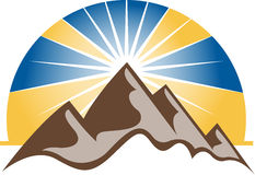 Mountains logo. Illustration art of a mountains logo with isolated background stock illustration