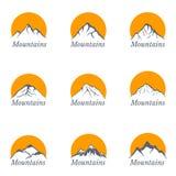 Mountains logo set with sun , vector illustration Stock Image