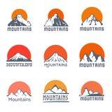 Mountains logo set, vector icon illustration Stock Image