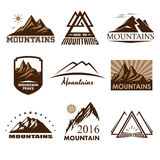 Mountains logos set Stock Photos