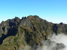 Mountains in Madeira. Mountains near Pico do Arieiro in Madeira with clouds Royalty Free Stock Photography